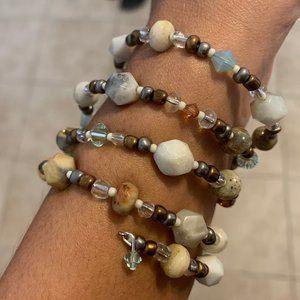 Gemstone Memory Wire Bracelet Swarovski Crystals